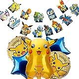 GUBOOM Pokemon Luftballon Geburtstag, Kindergeburtstag Pokemon Ballon, Pikachu Ballons Deko, Pokemon Party Deko, Pokemon Geburtstag Dekoration Set, Pokemon Pikachu Party Deko mit HAPPY BIRTHDAY Banner