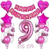 Luftballon 9. Geburtstag Rosa,9. Geburtstag deko für Mädchen,Ballon Deko zum Geburtstag,Geburtstagsdeko 9 Jahr,Riesen Folienballon Zahl,Happy Birthday Folienballon,Happy Birthday Dekoration Zahl(9)