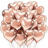 TOPHOPE Herzluftballons Herzballons Herz Folienballon Rosegold 30 Stück, Rose - Ideal als Hochzeitsdeko, Geburtstagsdeko oder Partydekoration (Rosegold-30pcs)