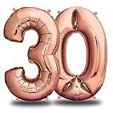 Folienballon Zahl - Geburtstagsdeko Rosegold 100cm - Deko zum Geburtstag - Luftballon Zahlen Dekoration - Happy Birthday - Fliegt mit Helium (Zahl 30)