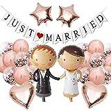 Hochzeits Ballons Just Married Deko, Hochzeit Dekoration Rosegold, Luftballon Brautpaar Folienballon Braut Bräutigam Just Married Banner für Heiratsantrag Standesamt Verlobung Hochzeit
