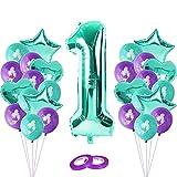 1st Meerjungfrau Deko, Riesen Folienballon Zahl 1, Geburtstagsdeko Kinder 1. Geburtstag Party Dekoration, Meerjungfrau Kindergeburtstag Deko Party Supplies Set für Junge Mädchen Babyparty