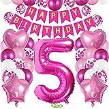 TOPHOPE Luftballon 5. Geburtstag Rosa Folienballon Luftballon Zahlen Geburtstagsdeko Jungen 5 Jahr Riesen Folienballon Zahl 5 Ballon 5 Deko zum Geburtstag Rosa Happy Birthday