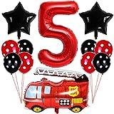 Liitata Feuerwehr Luftballon Set 5. Geburtstag Deko 40 Zoll Zahl 5 Folienballon Rot Feuerwehrauto Ballon Stern Ballon Punkt Latexballon für Kinder Junge Mädchen Geburtstag Party Kindergarten Partydeko