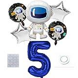 Weltraum Luftballon Set, Riesen Folienballon Zahl 5 Blau, Luftballons Geburtstag 5 Jahr, Großes Astronaut Weltraum Folienballon, Geburtstagsdeko Kinder 5. Geburtstag Party Dekoration für Junge Mädchen