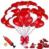 Herzluftballons Rot Weiß, 100 Stück Luftballons Hochzeit, Herz Luftballons, Latex Herz Ballon Helium 12 Zoll für Hochzeit Verlobung Valentinstag Party Deko