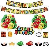 FGen 32pcs Geburtstagsfeier Dekorationen, Super Mario Geburtstag Decorations, Super Mario Thema Party Geburtstag Luftballons Set, Latex Luftballons Tortendeko Mario Happy Birthday Girlande