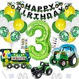 Traktor Geburtstag Deko,XXL Folienballon Zahl 3 in Grün ,Folienballon Traktor,Traktor Luftballons mit Happy Birthday Girlande für Jungen Kindergeburtstag Geburtstagdeko