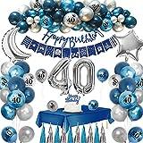 APERIL 40 Geburtstag Dekoration Mann, 40. Geburtstag Dekoration, 40 Geburtstag Deko, 40 Jahr Geburtstagdeko, Marineblauer Ballon, Bedruckte Blau Silber Metallic Luftballons, Kuchendeckel Folienballon