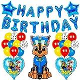 BESTZY Paw Patrol Luftballon Geburtstag Party Dekoration Riesen Folienballon Paw Patrol Geburtstagsfeier Happy Birthday Banner Ballons für Kinder Party Dekoration