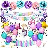 specool Einhorn Geburtstagsdeko Mädchen,Rosa lila blau Happy Birthday Set mit Einhorn Folienballon Latex Konfetti Luftballons Partydekoration für Mädchen Freundin Frauen