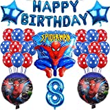Yisscen 8 Jahr Alt Super hero Luftballons Geburtstag Dekoration Set, Ballons Geburtstagsbanner, Partyzubehör, für 8 Jahr Alt Jungen Mädchen Spiderman Kinder Dekoration Liefert