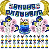 Sailor Moon Themen-Geburtstagsparty-Dekoration, Party-Set für Kinder mit Happy Birthday Banner Girlande, große Geburtstagskarte, Cupcake-Topper, Folienballons, Luftballons für Party-Dekorationen