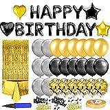 Fouvin Geburtstagsdeko, schwarzes Gold Ballons Paket, Geburtstag Dekoration Set mit Happy Birthday Banner 24 Konfetti Ballons Glitzer Vorhang Konfetti Herz Stern Folienballon (mit Ballonpumpe)