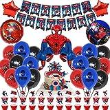 49 Stück Superhelden-Avengers-Partyzubehör, Spiderman-Banner, Folienballons, Kuchenaufsatz für Kindergeburtstag