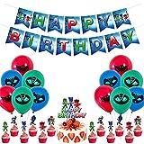 CYSJ Pyjamahelden PJ Masks Party Zubehör Dekoration, Gaming Deko Partyzubehör Set, Geburtstagsfeier Spiel Dekorationen, Geburtstag Dekoration Kinder, Geburtstagsdeko Luftballons Kindergeburtstag