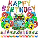 34 Stück Super Mario Party Deko, Super Mario Thema Happy Birthday Banner, Luftballons, Kuchen-Topper für Kinder Geburtstag Party Dekoration
