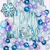 specool Frozen Geburtstagsdeko Mädchen Ballon Luftballon Girlande Kit, Lila Blaue Weiße Blaue Metallic Party Luftballons Ballons für Geburtstag Hochzeit Mädchen Party Dekoration Versorgt