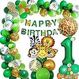 Dschungel Geburtstag Dekoration 1 jahr, AcnA Geburtstagsdeko Jungen 1 jahr,Kindergeburtstag deko Safari Happy Birthday Dekoration Banner Dschungel Luftballons Wild One Deko Junge 1. Geburtstag Mehrweg
