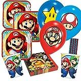 spielum 50-teiliges Party-Set Super Mario - Teller Becher Servietten Luftballons Trinkhalme für 8 Kinder