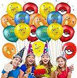 Qemsele Geburtstag Luftballons für Kinder, 50pcs Karikatur Konfetti Luftballons 12 Zoll Latex Ballons mit Bändern Geburtstag Party Dekoration Karneval, Kindergeburtstag (Pokemon)