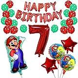 Yisscen 7 Jahr Alt Super Mario Luftballons Geburtstag Dekoration Set Punktlatex Fünfzackige Sterne Folien Nummer 7 Digital Luftballons Benutzt für 7 Jahr Alt Jungen Mädchen Kinder Dekoration Liefert
