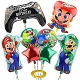 Yisscen Super Mario Folienballons, Kindergeburtstag Deko Mario Bros Brüder Geburtstag Dekoration Luftballons Set, Super Mario Ballons für Mädchen Jungen