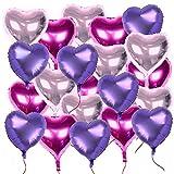 21 Stk 18 Zoll 3 Farben Herzballons (inkl. 2 set Lametta / Rot + Silbrig / ca. 1m pro stk) Folienballons Luftballons Herzform Heliumballons Herzluftballons Geburtstag Valentinstag Hochzeit Verlobung