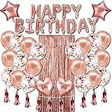 Happy Birthday Luftballons Banner, Roségoldfolie, Geburtstags-Dekorationen mit Quasten und Bändern für alle Altersgruppen, Geburtstagsparty-Zubehör