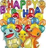 Pokémon Party Dekoration Set,Geburtstag Deko Pokémon Foilballons mit HAPPY BIRTHDAY Banner Geburtstag Luftballons Pokemon Geburtstag Party Set für Kinder Partyzubehör