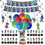 Geburtstag Deko PJ Masks Luftballons Alles Gute Zum Geburtstag Girlande Kuchendeckel Wirbel Dekoration für Kinder Pyjamahelden Geburtstagsfeier Dekoration
