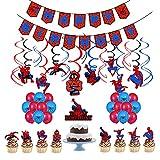 Ksopsdey Geburtstag Deko Spiderman Luftballons Spiderman Geburtstag Girlande Spiderman Kuchendeckel Superhelden Avengers Marvel Party Decorations, zur Feier von Geburtstagen und Partys