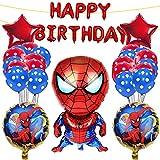 Yisscen Geburtstagsdeko Spiderman Themed Party Set,Superheld Luftballons Heliumballon Geburtstag Dekoration Set,Folienballon, Geburtstagsbanner,Latexballon,Mädchen Junge Geburtstags Ballons Party Deko