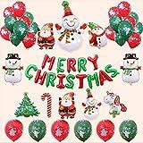 KAHEIGN Weihnachten Ballon Dekoration Kit, Merry Christmas Banner 10Pcs Weihnachtsmann Folienballon und 26Pcs Grün-Rote Weihnachtsballon Deko für Weihnachtsfeier Dekoration