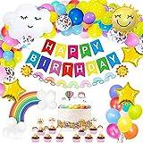 Regenbogen-Geburtstagsdekoration, Geburtstags-Banner, Regenbogen-Wolken-Luftballons, Kuchendekoration, Regenbogen-Banner, Pastell-Party-Dekorationen für Mädchen und Jungen