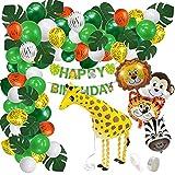 Kindergeburtstag Dschungel Deko XXL Set - 84 Teile - Geburtstag im Dschungel Look - XXL Folienballons, Luftballons, Girlande, laufende Giraffe