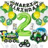 Traktor Geburtstag Deko,XXL Folienballon Zahl 2 in Grün ,Folienballon Traktor,Traktor Luftballons mit Happy Birthday Girlande für Jungen Kindergeburtstag Geburtstagdeko