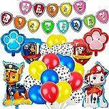 PAWT Folienballon Luftballon Set, Happy Birthday Banners en 12 inch Kleuren Latex Ballonnen voor Thema Verjaardag Party Decoraties,27PCS