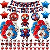 Osugin Spiderman-Party-Dekoration, Superhelden-Avengers-Partyzubehör, Spiderman-Themen-Zubehör, Spiderman-Happy Birthday-Banner, Luftballons, Kuchendekoration, für Kindergeburtstagsparty-Dekoration