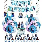 Geburtstag Deko Frozen Luftballons Kindergeburtstag Alles Gute Zum Geburtstag Girlande Tortentopper Spiraldekorationen für Kinder Mädchen Diskönigin Geburtstagsfeier Dekoration