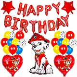 BESTZY Paw Patrol Luftballon Paw Patrol Geburtstag Dekoration Riesen Folienballon Paw Patrol Geburtstagsfeier Happy Birthday Banner Ballons für Kinder Party Dekoration