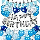 KELEQI Geburtstags-Party-Ballons Set, Großer Folienballon Blauer Ballon Und Confetti Ballon Für Hochzeit, Partydekoration, Geburtstagspartyangebot
