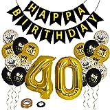 Herefun 40 Geburtstag Dekoration Set, 40 Geburtstag Zahl Goldfolien Ballone, Konfetti Luftballons, Pailletten Latex Ballons mit Geburtstag Banner, 40 Geburtstagsfeier Liefert Dekoration für Mann Frau