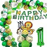 30 PCS Wild One Dschungel luftballon 1.Geburtstag Dekorationen mit Palmblätter und Tierköpfe Folienballons Tierballons für Kindergeburtstag Safari Wald Tier Happy Birthday Banner Jungen(1 Jahr alt)