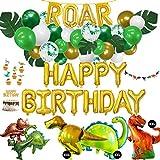 Dino Deko Kindergeburtstag XXL Set - 71 Teile - Geburtstag im Dinosaurier Look - XXL Folienballons, Luftballons, Girlande, Kuchentopper - grün, gold, weiß