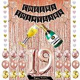 Minhero Deko-Set zum 19. Geburtstag, Aufschrift 'Cheers to 19 Jahre', Banner aus Folie, Fransenvorhänge, 'Happy Birthday', Luftballons, buntes Herz-Banner für 19 Jahre und Jubiläums-Partyzubehör