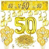 HOWAF Goldene Hochzeit Deko Set, Goldene Hochzeit Luftballons Gold Zahl 50 Folienballon, Goldene Hochzeit Banner Spiral Girlanden Hängedeko, Gold Zahl 50 Konfetti, 50. Hochzeitstag Deko 50. Geburtstag