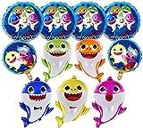 Funvalley Surperfect Baby Shark Ballon für Partys, 25 Zoll Helium Baby Shark Party Ballons mit 6 Stück 17 Zoll runden Luftballons, Geburtstagsdekorationen, Babyparty Partyzubehör (11 Stück)