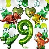 TOPHOPE Luftballon 9. Geburtstag Grün Happy Birthday Folienballon Luftballon Zahlen Geburtstagsdeko Dinosaurier Jungen 9 Jahr Riesen Folienballon Zahl 9 Ballon Dino 9 Deko zum Geburtstag Dino