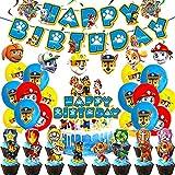Paw Dog Patrol Luftballons, Geburtstag Dekoration Paw Dogs Patrol Geburtstag Dekorations Set Happy Birthday Deko Ballons Banner für Geburtstag Party Dekorationen
